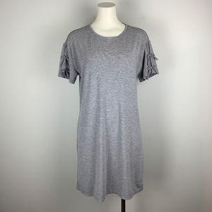 Fabletics Yani Shift Dress Tied Sleeve Mini Gray M